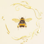 White-tailed Bumblebee. 24 carat gold on gesso and watercolour.