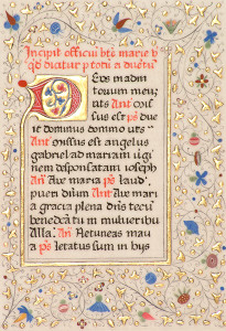 Copy of a single folio of Lincoln Cathedral MS307, a Book of Hours. Size 10.5 x 7.2cm, 24 carat gold and natural pigments on manuscript vellum.