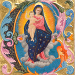 Madonna, original image from a manuscript at Lincoln Cathedral, re-created in 24 carat gold leaf and watercolour.