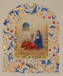 The central image in a Lincoln Cathedral nativity triptych. Gold leaf, shell gold and pigments on vellum.