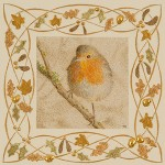 A painting of a robin surrounded by gilded leaves, copyright Toni Watts