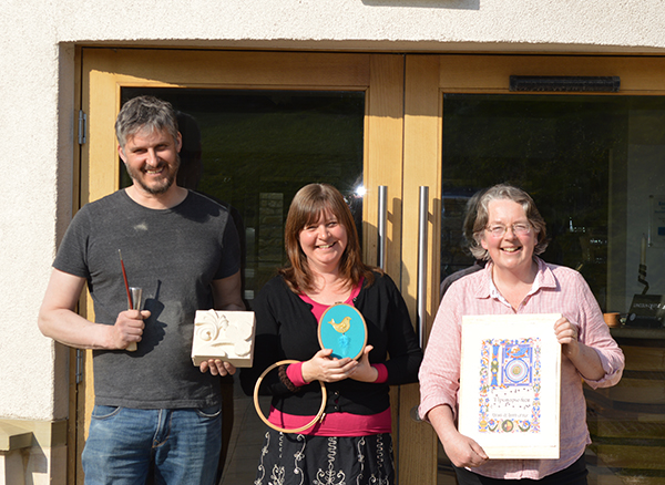 Alan (stonemason), Sarah (Royal school of Needlework) and I - tutors at the Heritage Skills Centre, Lincoln.