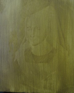 Verdaccio underpainting - starting to pick out the darks
