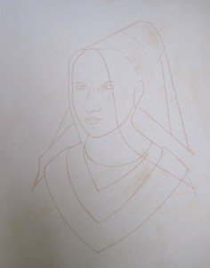 Outline transferred in pigment