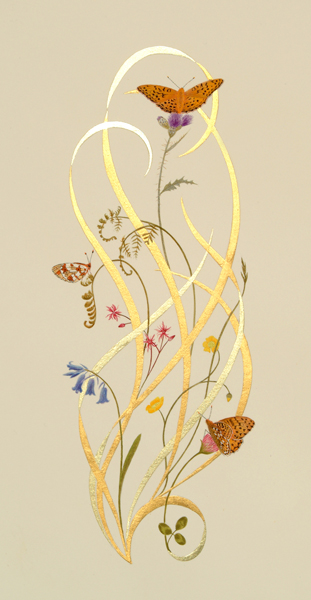 A painting of butterflies at Barkbooth Lot, egg tempera and gold leaf by traditional artist Toni Watts