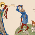 Luttrell Psalter. Annunciation to the Shepherds. 24 carat gold leaf and egg tempera.