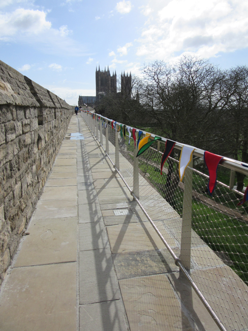 Walking the newly restored medieval wall walk.