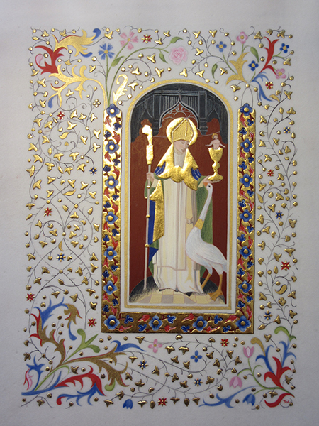 Illuminated manuscript St Hugh and his swan by manuscript illuminator Toni Watts Lincoln Cathedral